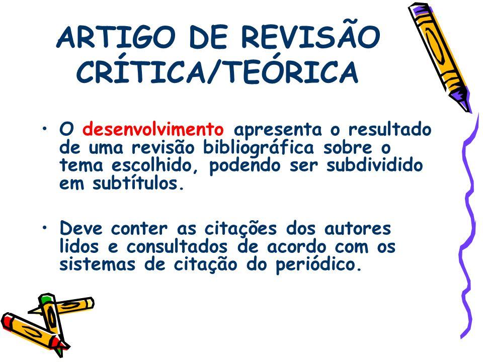 ARTIGO DE REVISÃO CRÍTICA/TEÓRICA