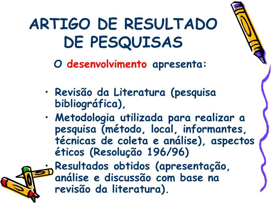 ARTIGO DE RESULTADO DE PESQUISAS