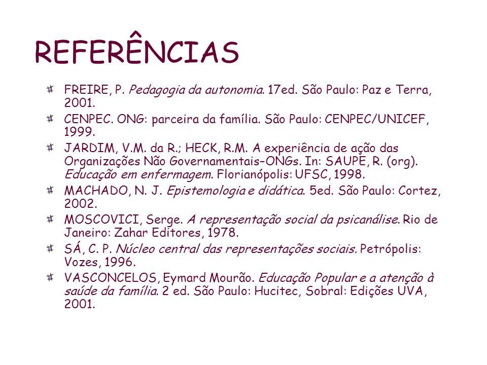 REFERÊNCIAS FREIRE, P. Pedagogia da autonomia. 17ed. São Paulo: Paz e Terra, 2001. CENPEC. ONG: parceira da família. São Paulo: CENPEC/UNICEF, 1999.