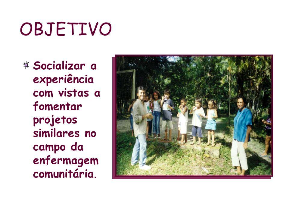 OBJETIVO Socializar a experiência com vistas a fomentar projetos similares no campo da enfermagem comunitária.