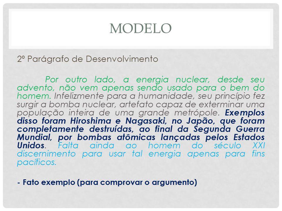 MODELO 2º Parágrafo de Desenvolvimento