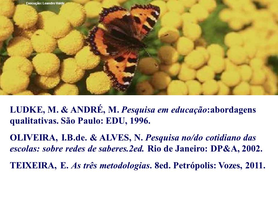TEIXEIRA, E. As três metodologias. 8ed. Petrópolis: Vozes, 2011.