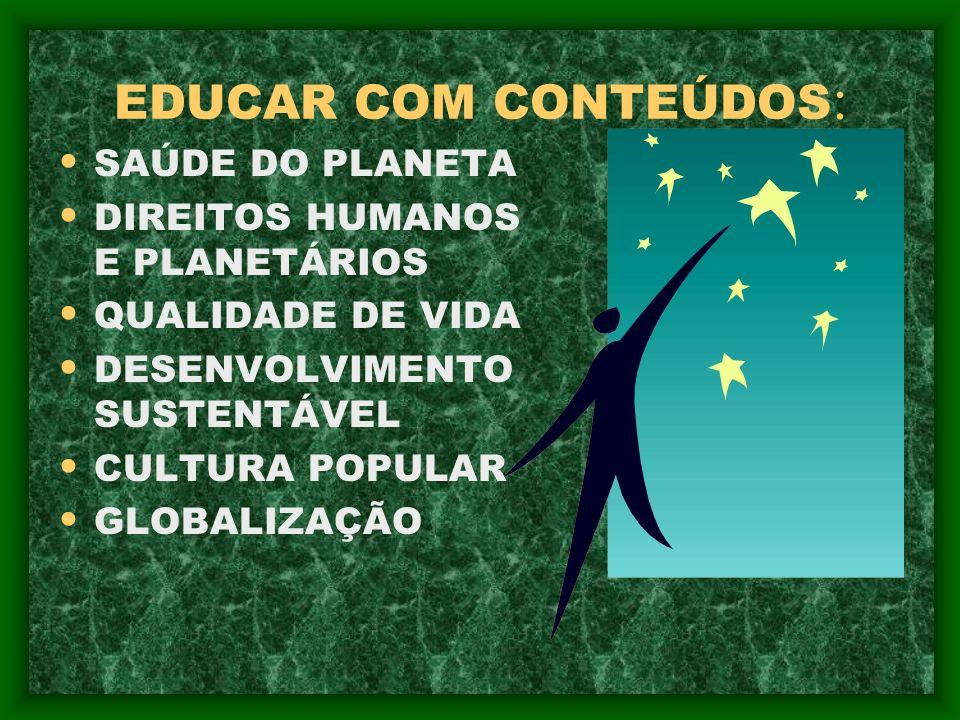 EDUCAR COM CONTEÚDOS: SAÚDE DO PLANETA DIREITOS HUMANOS E PLANETÁRIOS