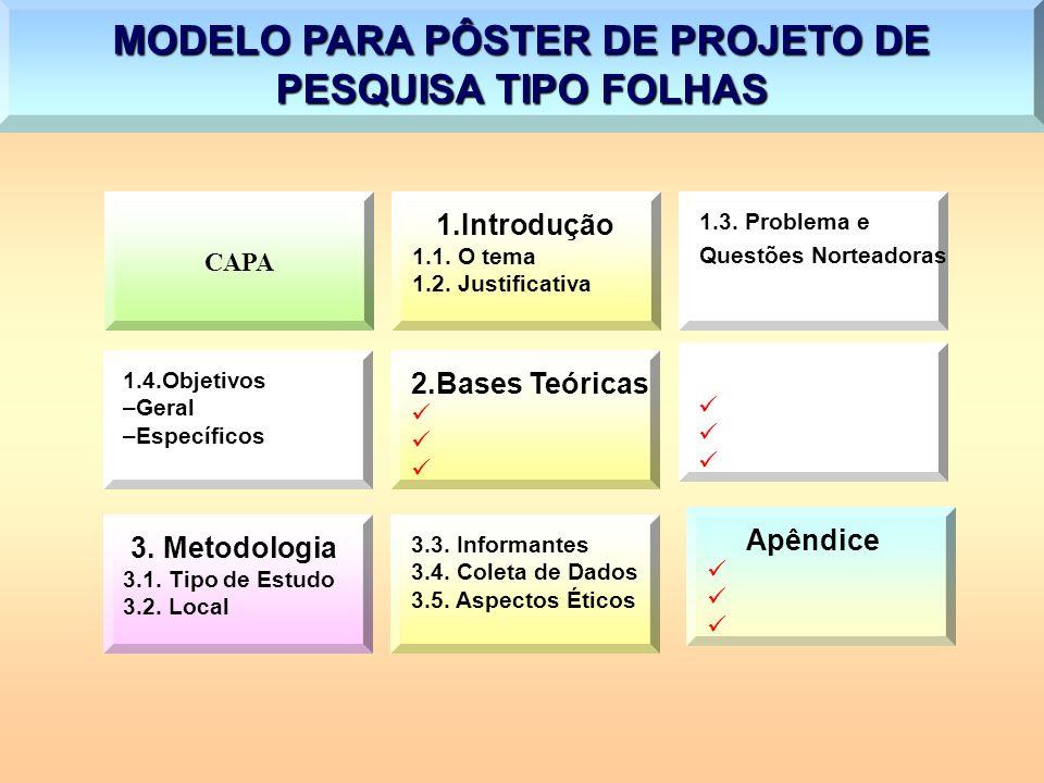 MODELO PARA PÔSTER DE PROJETO DE PESQUISA TIPO FOLHAS