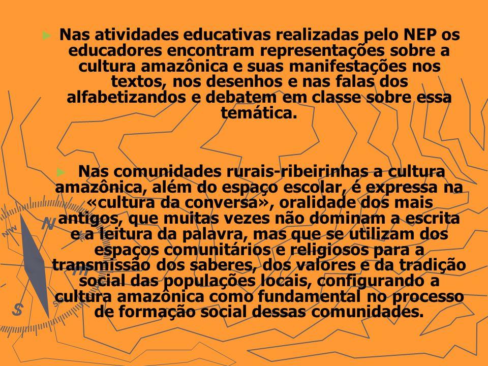 Nas atividades educativas realizadas pelo NEP os educadores encontram representações sobre a cultura amazônica e suas manifestações nos textos, nos desenhos e nas falas dos alfabetizandos e debatem em classe sobre essa temática.