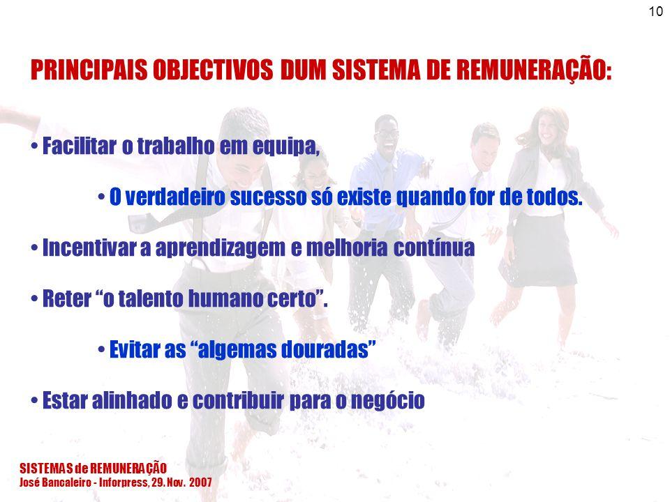 PRINCIPAIS OBJECTIVOS DUM SISTEMA DE REMUNERAÇÃO:
