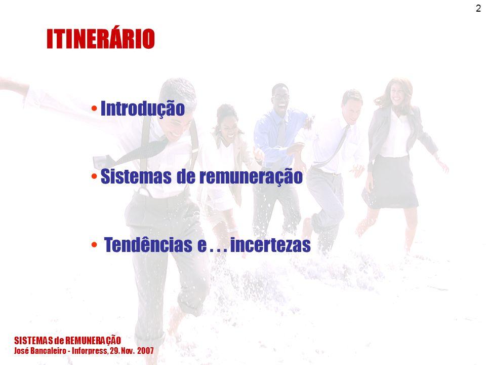 ITINERÁRIO Introdução Sistemas de remuneração