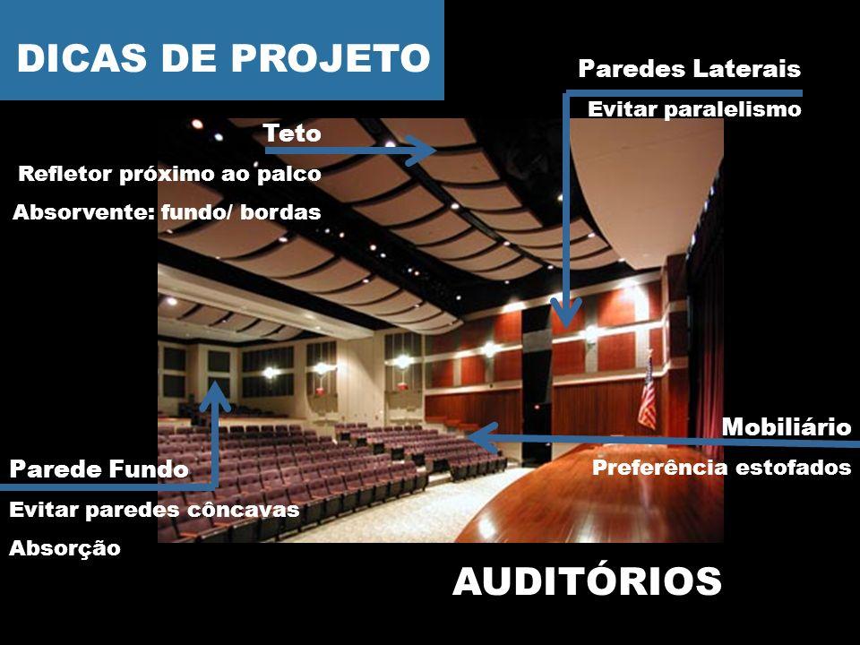DICAS DE PROJETO AUDITÓRIOS Paredes Laterais Teto Mobiliário