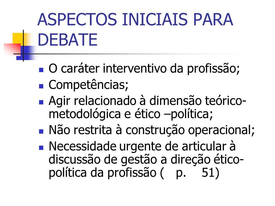 ASPECTOS INICIAIS PARA DEBATE
