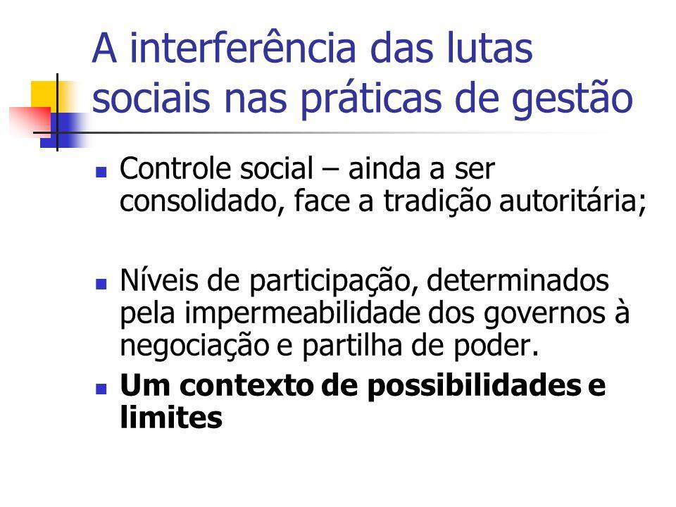 A interferência das lutas sociais nas práticas de gestão