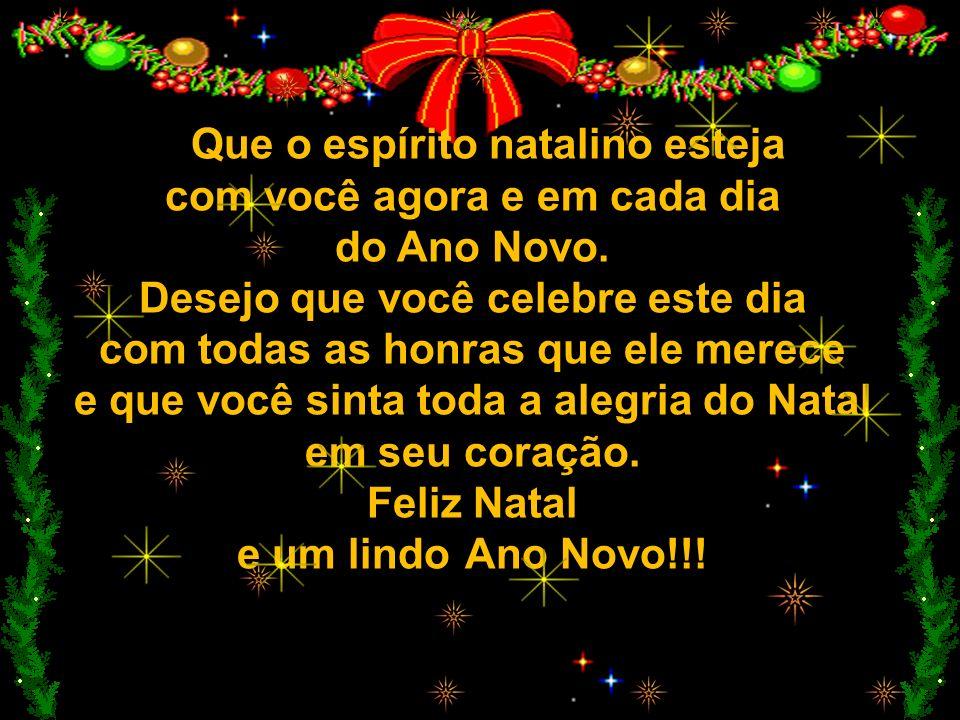 Que o espírito natalino esteja com você agora e em cada dia do Ano Novo.