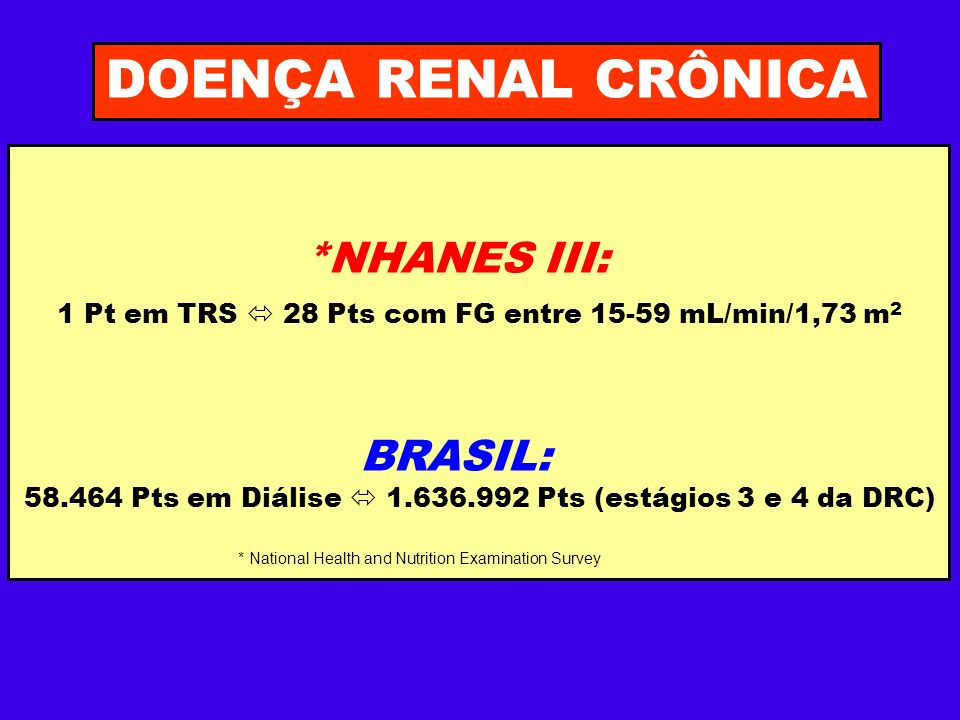 DOENÇA RENAL CRÔNICA *NHANES III: