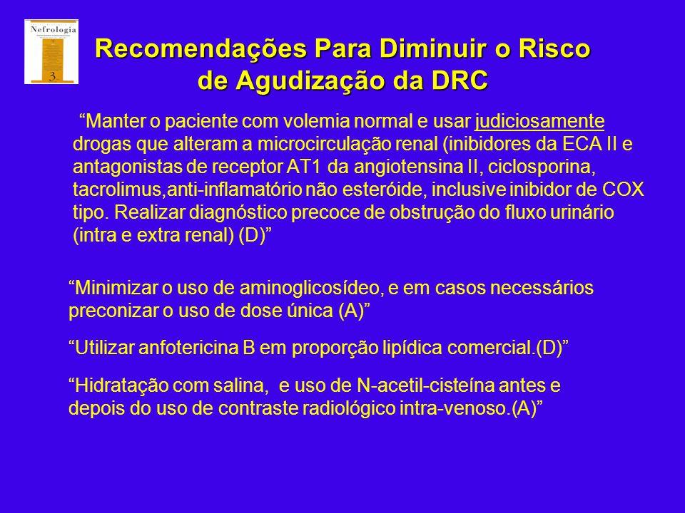 Recomendações Para Diminuir o Risco de Agudização da DRC