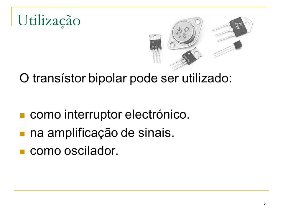 Utilização O transístor bipolar pode ser utilizado:
