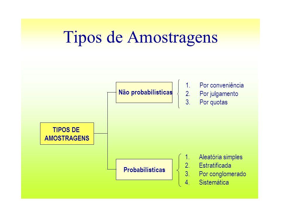 Tipos de Amostragens Por conveniência Por julgamento