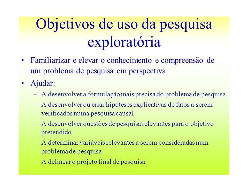 Objetivos de uso da pesquisa exploratória