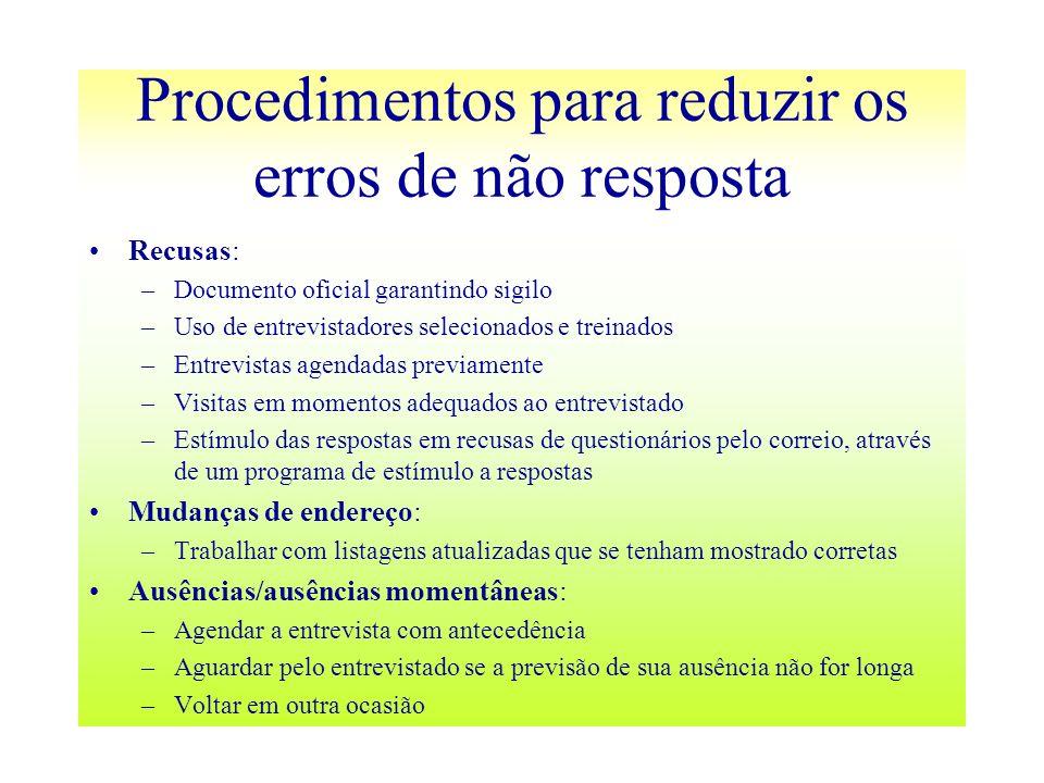 Procedimentos para reduzir os erros de não resposta