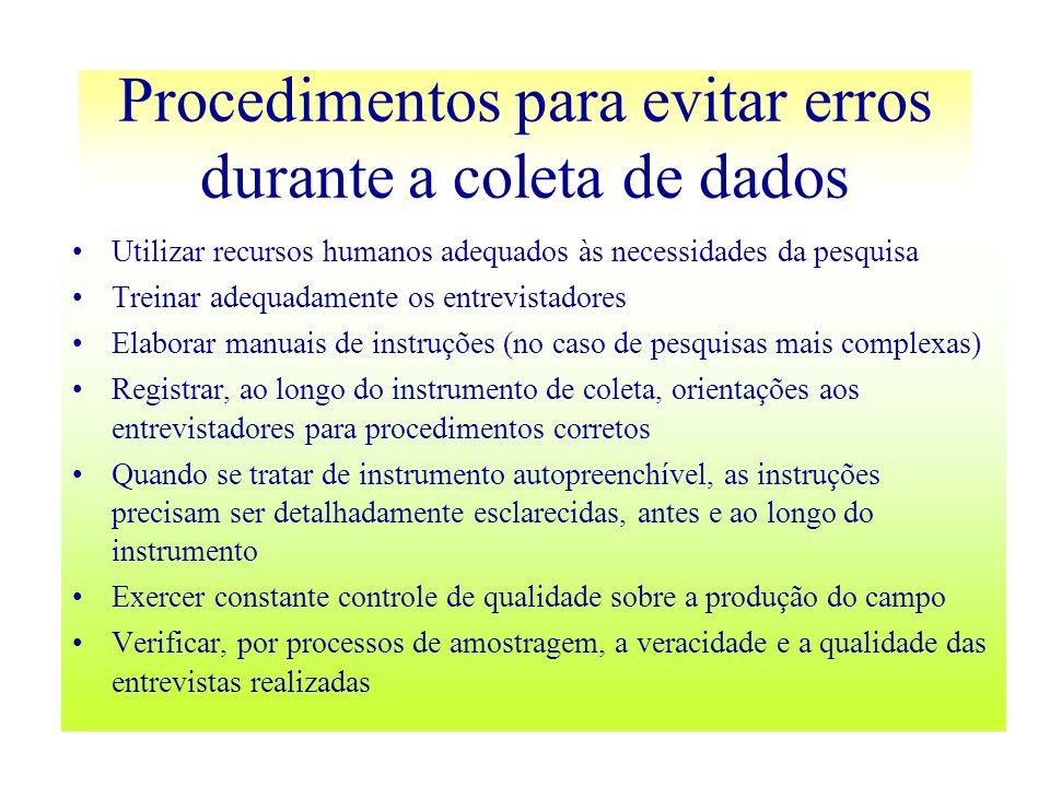 Procedimentos para evitar erros durante a coleta de dados