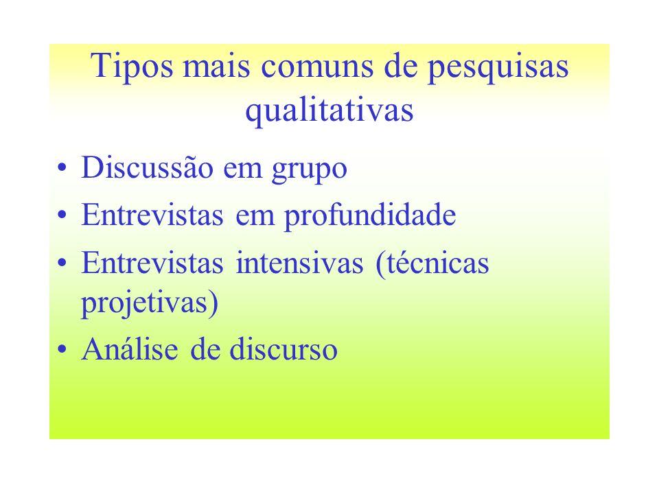 Tipos mais comuns de pesquisas qualitativas