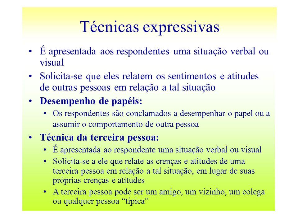 Técnicas expressivasÉ apresentada aos respondentes uma situação verbal ou visual.