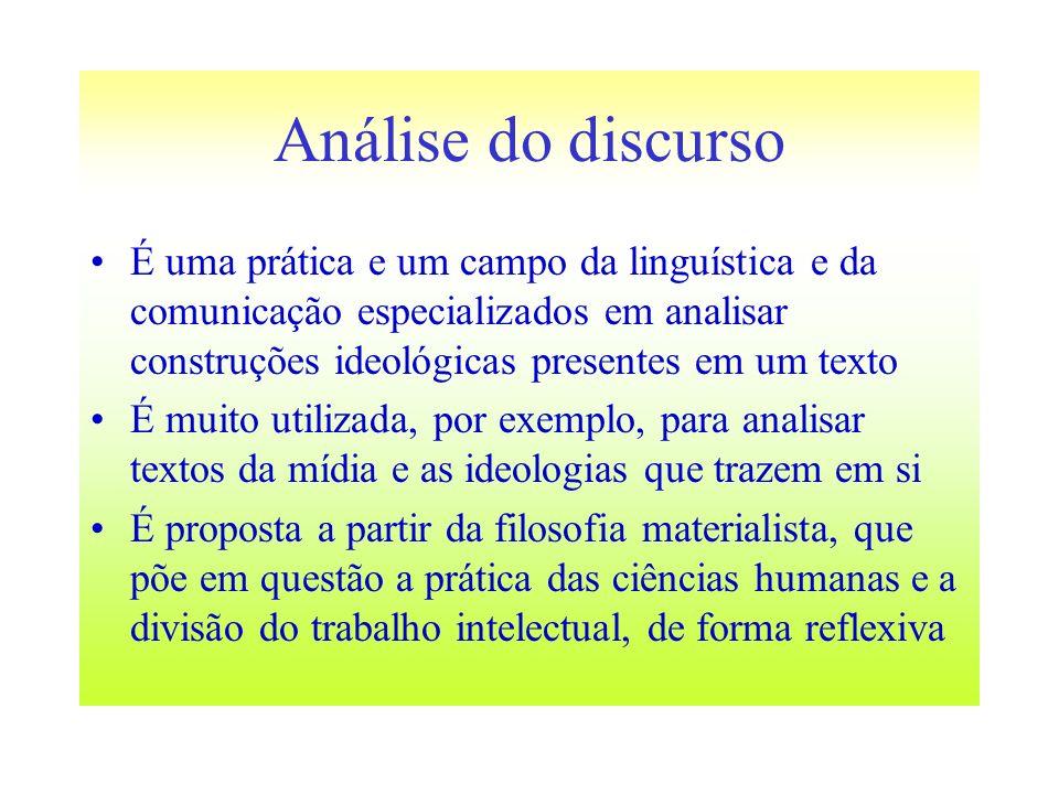 Análise do discursoÉ uma prática e um campo da linguística e da comunicação especializados em analisar construções ideológicas presentes em um texto.