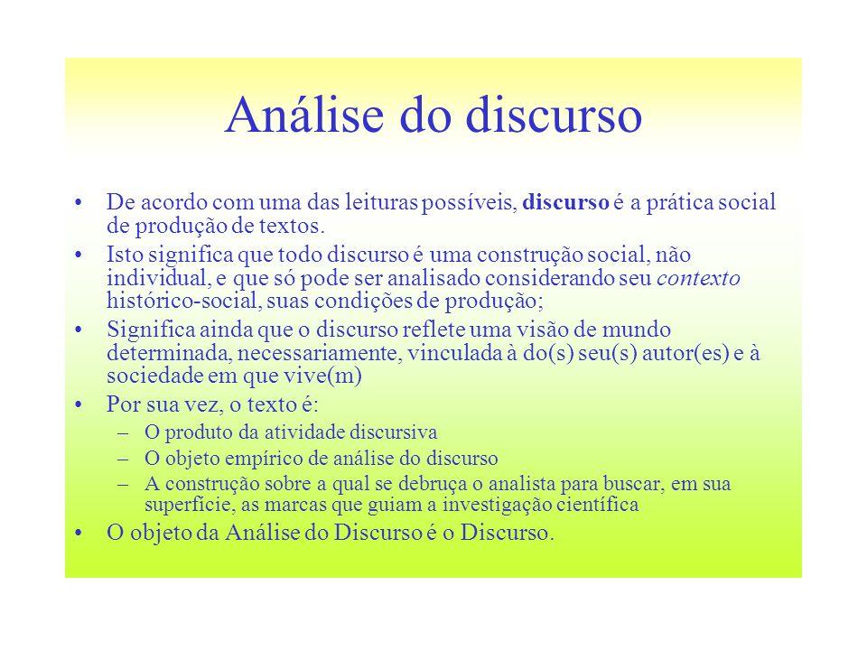 Análise do discurso De acordo com uma das leituras possíveis, discurso é a prática social de produção de textos.