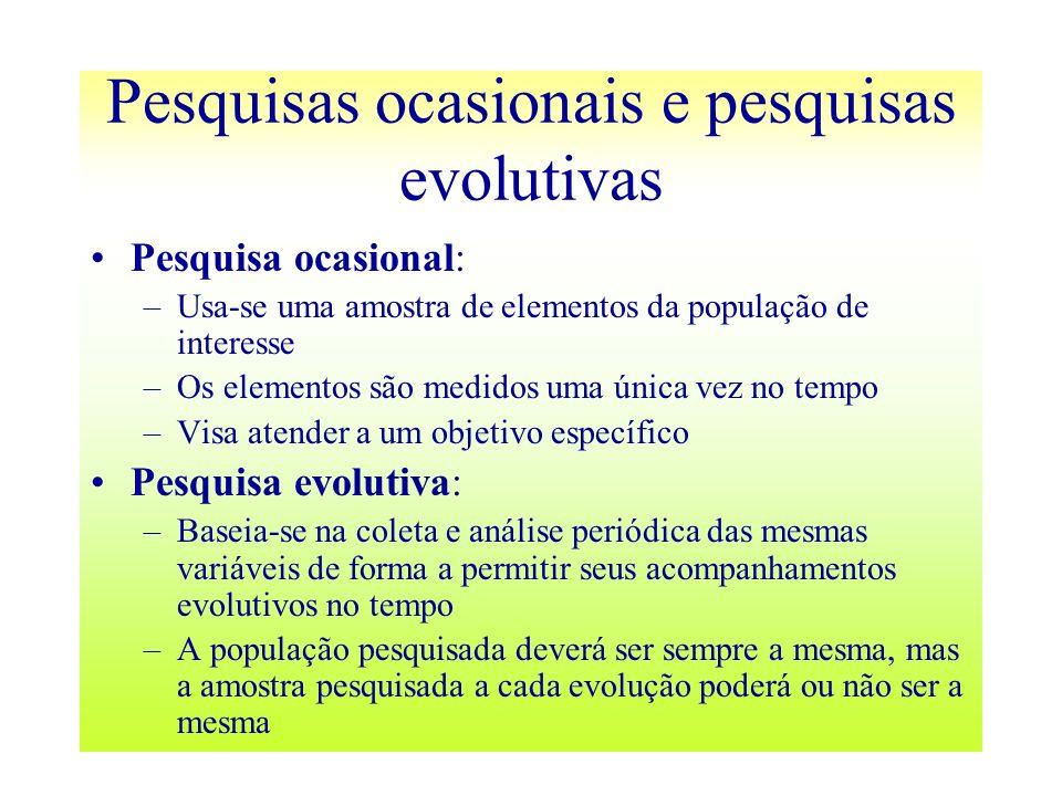 Pesquisas ocasionais e pesquisas evolutivas