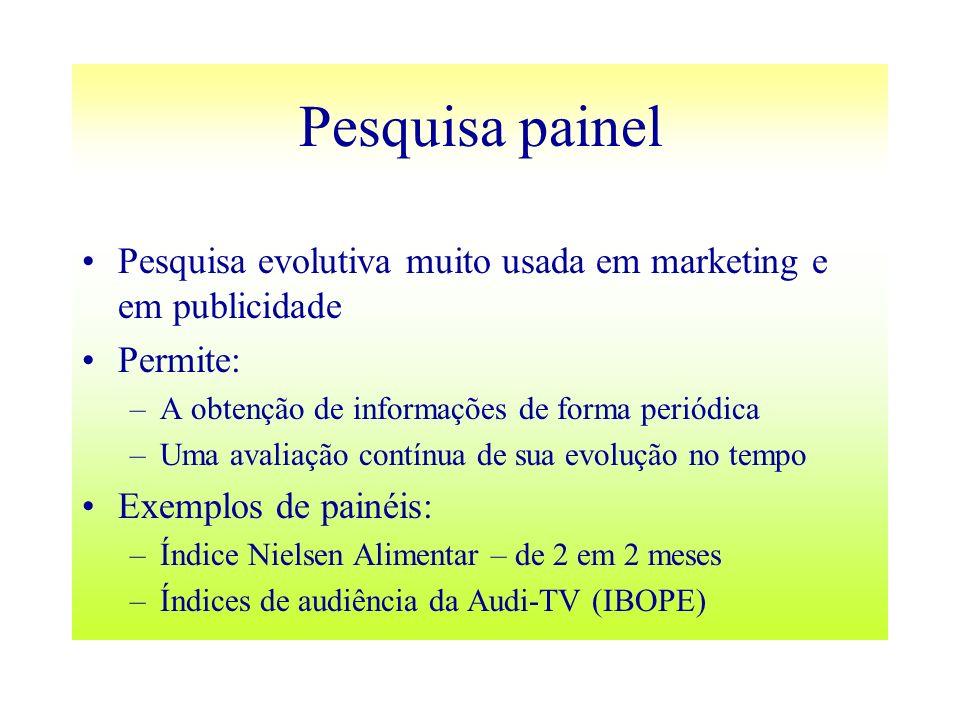 Pesquisa painel Pesquisa evolutiva muito usada em marketing e em publicidade. Permite: A obtenção de informações de forma periódica.