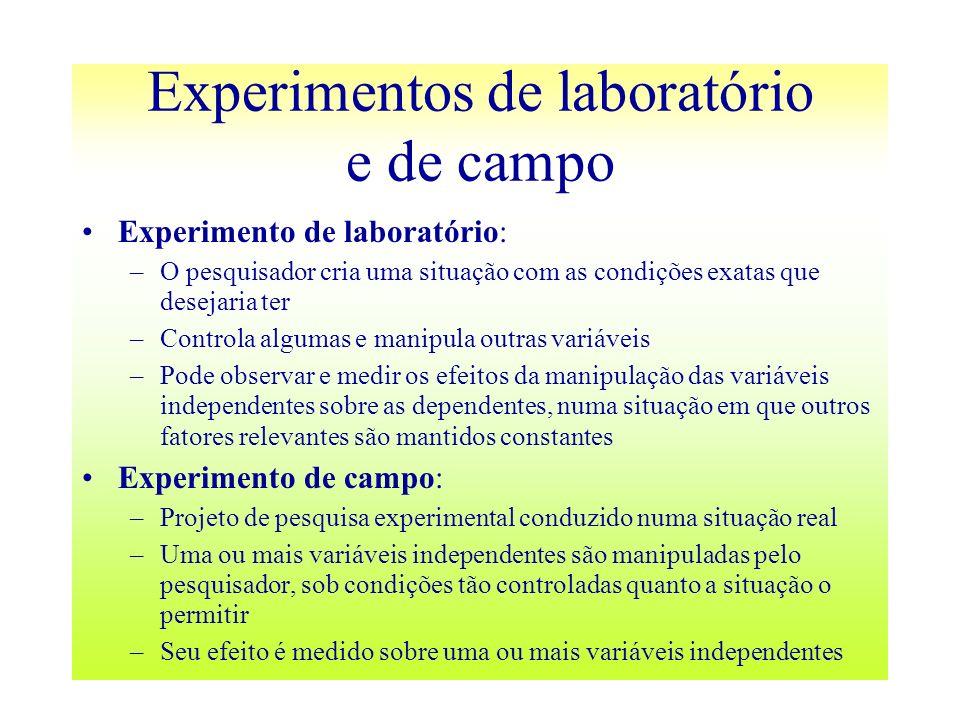 Experimentos de laboratório e de campo