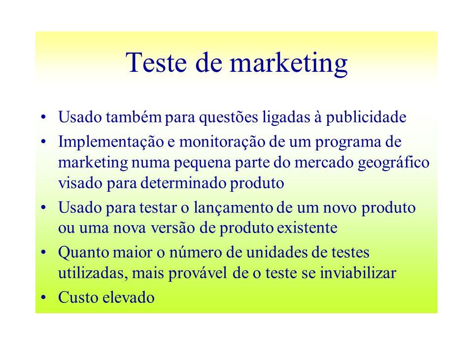 Teste de marketing Usado também para questões ligadas à publicidade