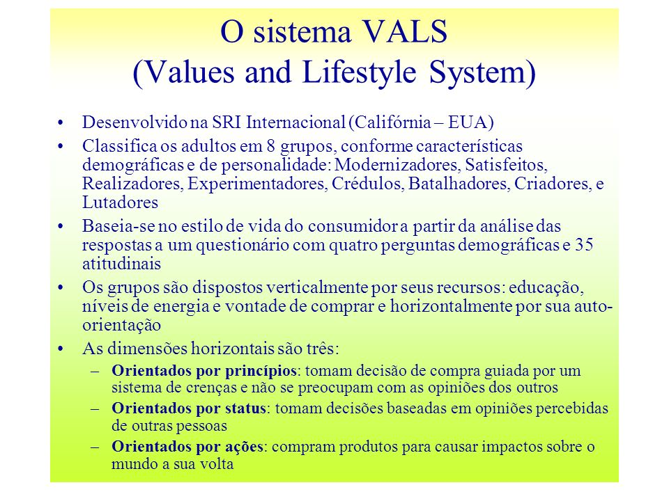 O sistema VALS (Values and Lifestyle System)