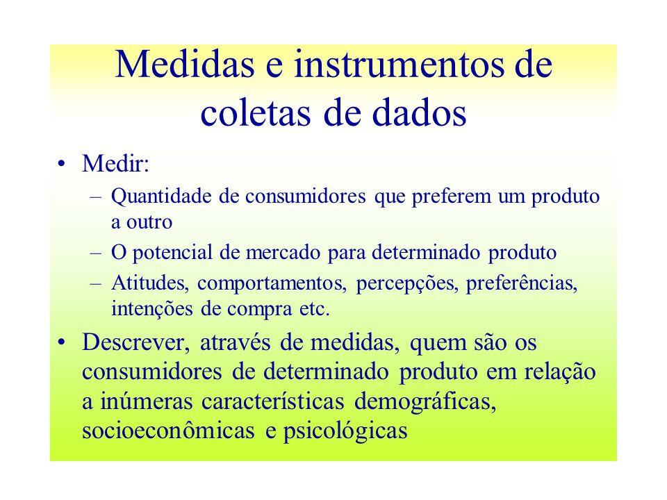 Medidas e instrumentos de coletas de dados