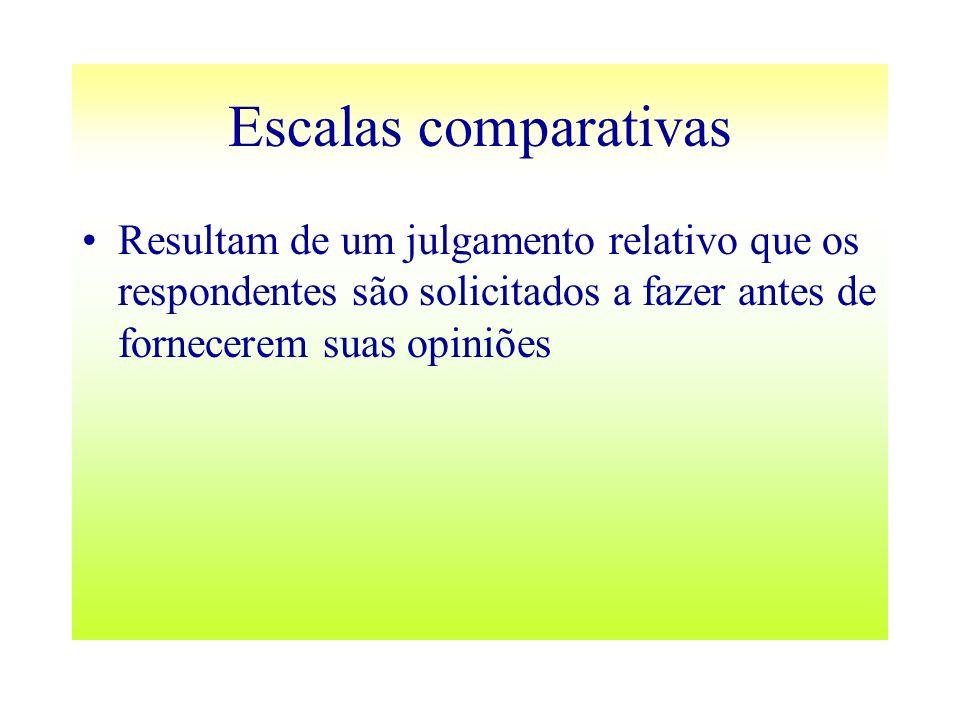 Escalas comparativasResultam de um julgamento relativo que os respondentes são solicitados a fazer antes de fornecerem suas opiniões.