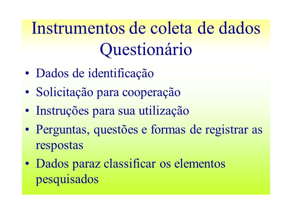 Instrumentos de coleta de dados Questionário