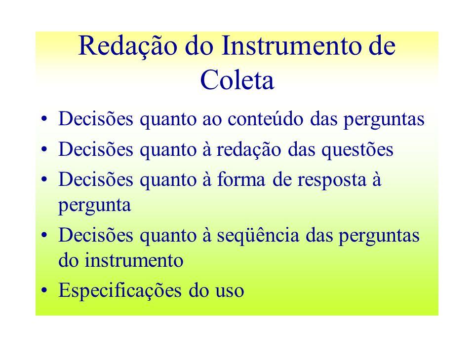 Redação do Instrumento de Coleta