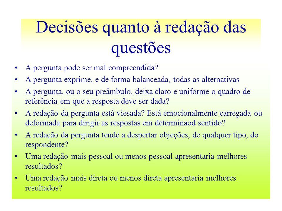 Decisões quanto à redação das questões