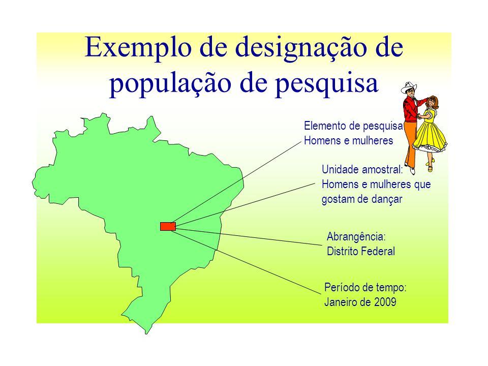 Exemplo de designação de população de pesquisa