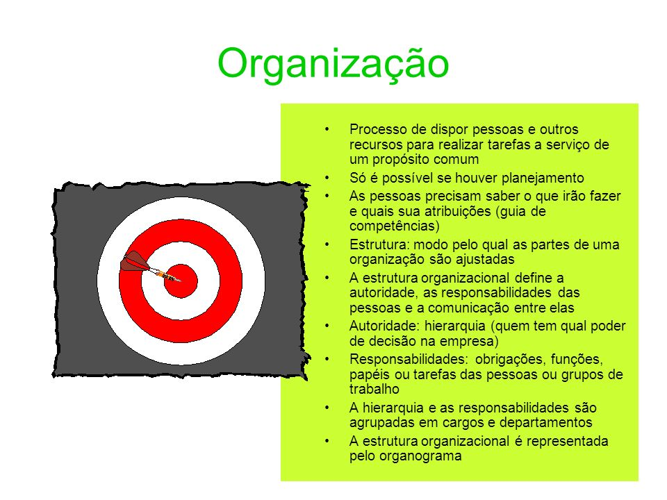 OrganizaçãoProcesso de dispor pessoas e outros recursos para realizar tarefas a serviço de um propósito comum.