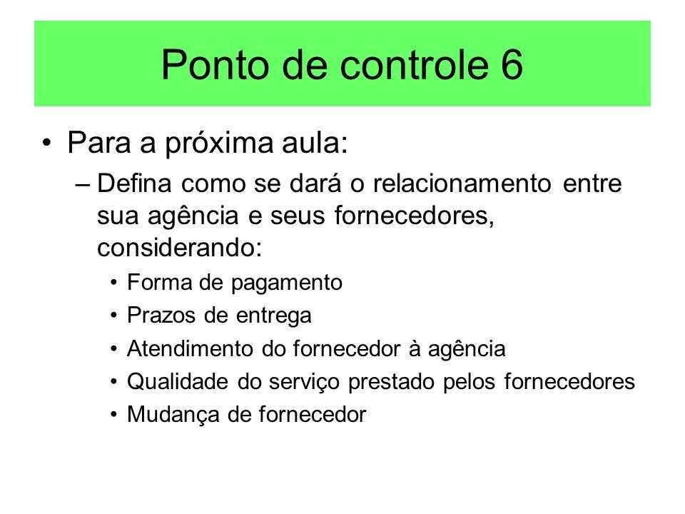 Ponto de controle 6 Para a próxima aula: