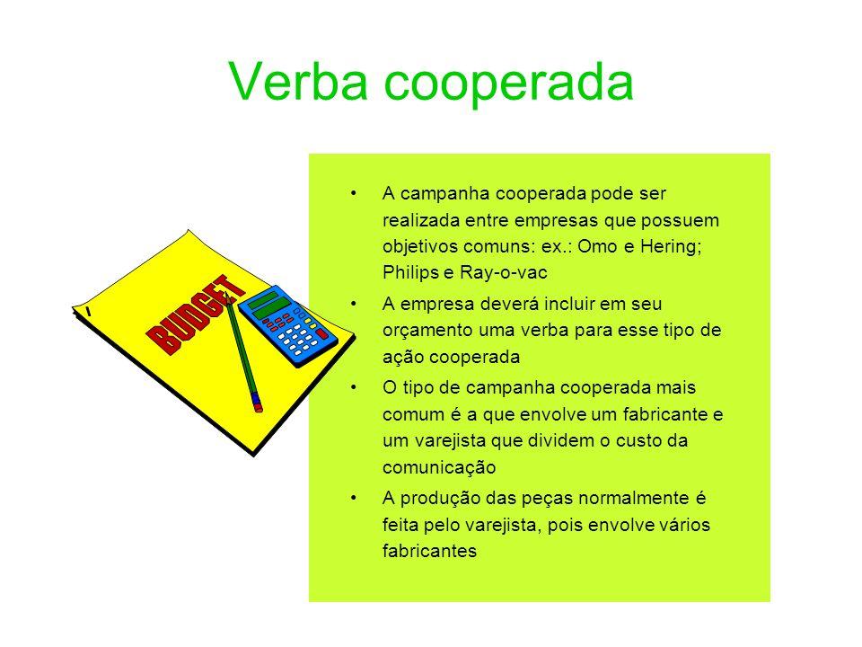 Verba cooperadaA campanha cooperada pode ser realizada entre empresas que possuem objetivos comuns: ex.: Omo e Hering; Philips e Ray-o-vac.