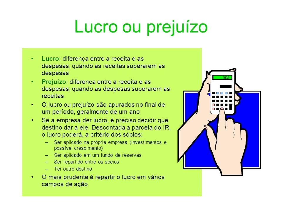 Lucro ou prejuízo Lucro: diferença entre a receita e as despesas, quando as receitas superarem as despesas.