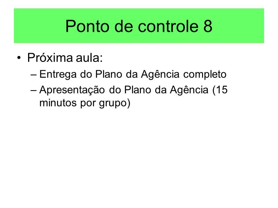 Ponto de controle 8 Próxima aula: Entrega do Plano da Agência completo