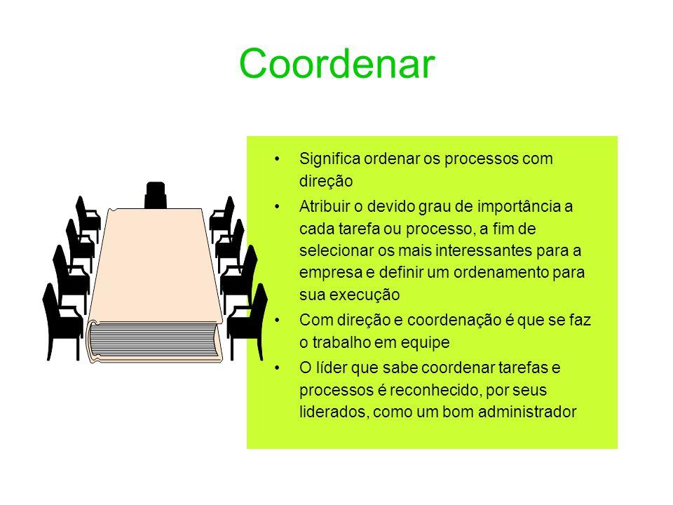 Coordenar Significa ordenar os processos com direção
