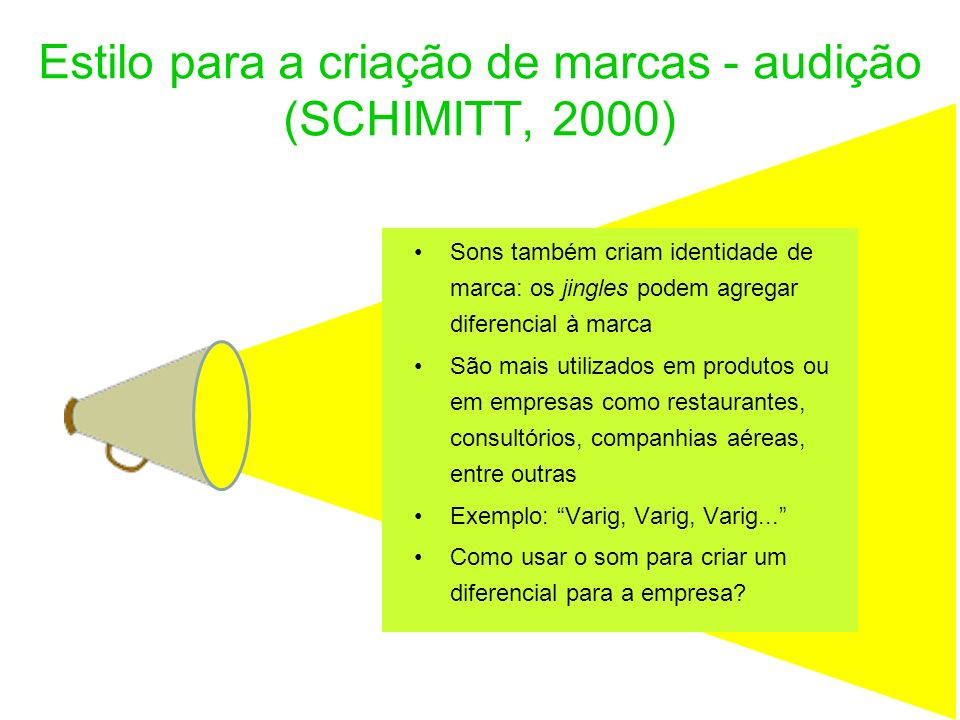 Estilo para a criação de marcas - audição (SCHIMITT, 2000)