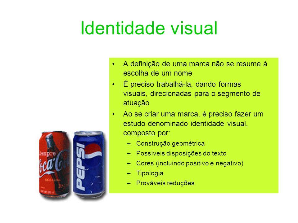 Identidade visual A definição de uma marca não se resume à escolha de um nome.