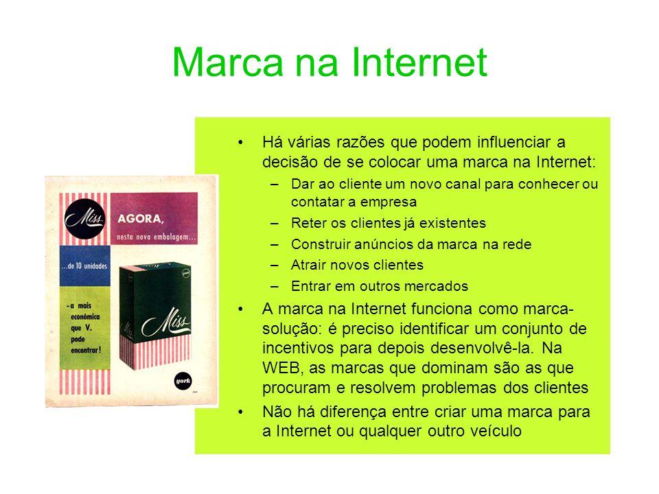 Marca na Internet Há várias razões que podem influenciar a decisão de se colocar uma marca na Internet: