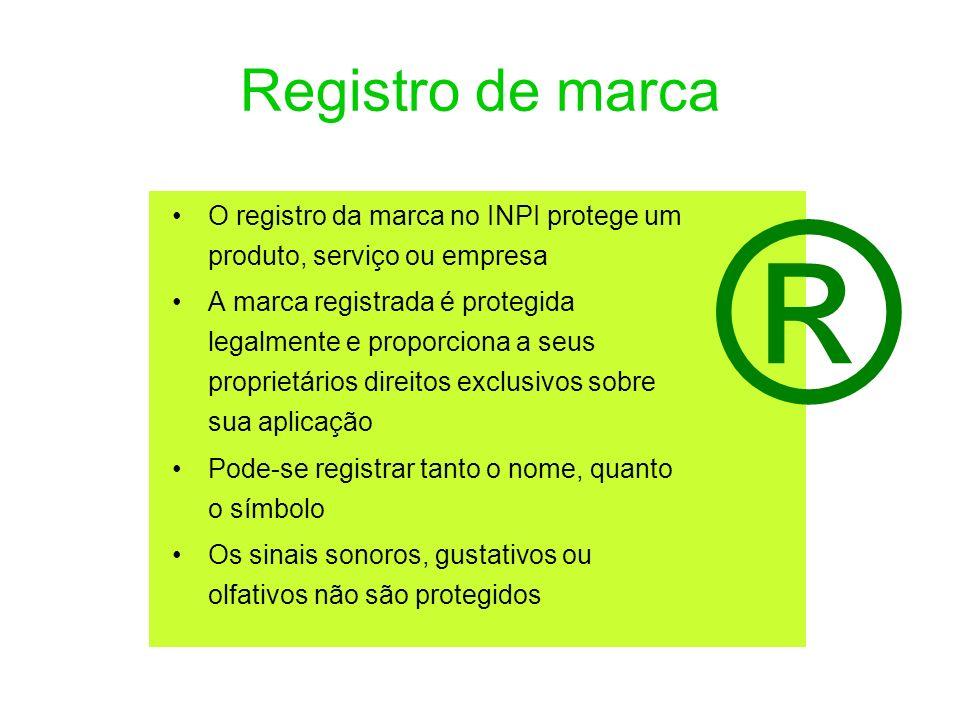 Registro de marca ® O registro da marca no INPI protege um produto, serviço ou empresa.