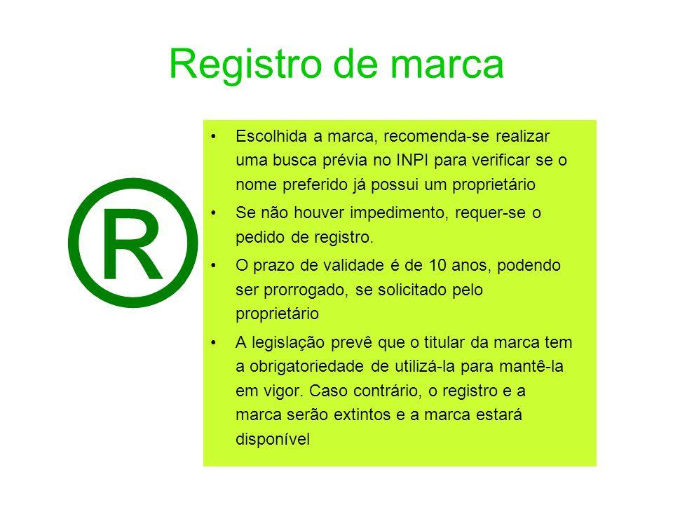 Registro de marca Escolhida a marca, recomenda-se realizar uma busca prévia no INPI para verificar se o nome preferido já possui um proprietário.