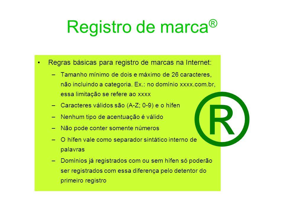 Registro de marca® Regras básicas para registro de marcas na Internet: