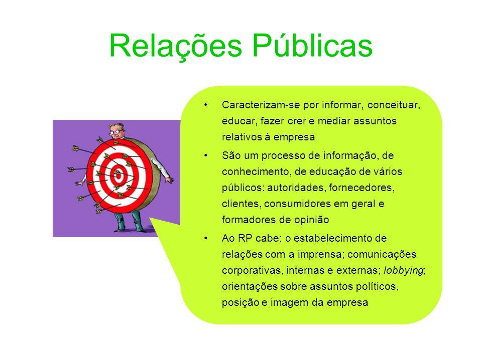 Relações Públicas Caracterizam-se por informar, conceituar, educar, fazer crer e mediar assuntos relativos à empresa.
